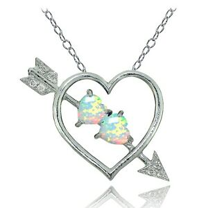 Sterling Silver Created White Opal and White Topaz Heart & Arrow Necklace