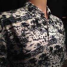 Bruno Black-And-White Island Pattern Men's Short Sleeve Casual Shirt Size L