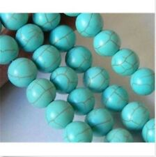 "10mm Blue Turkey Turquoise Gemstone Round Loose Beads 15"" PL281"