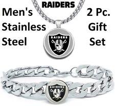 """Las Vegas Oakland Raiders Mens Gift Set Stainless 24"""" Necklace Bracelet D4D30"""