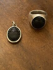 David Yurman Sterling Silver Matching Ring And Pendant Petrvs  Black Scarab