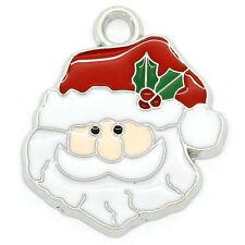 10 Pendentifs breloque Tête de Père Noël Émail Noël 24x21mm B28611
