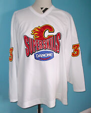 Calgary Flames Adrian Aucoin Used Jersey Size 56 NHL Autographed SuperSkills
