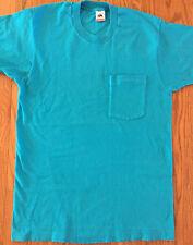 Vtg Fruit of the Loom Pocket T Shirt M/L Selvedge 80s 90s Usa Made Turquoise