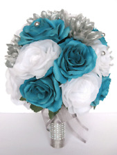 17 piece Wedding Bouquet package Bridal Silk Flowers TURQUOISE SILVER WHITE set