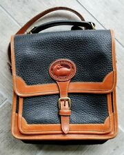 Auth Vtg DOONEY AND BOURKE CROSSBODY BAG Navy / Brown All Weather Leather Saddle