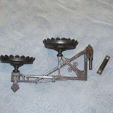 Antique Eastlake Victorian Ornate Cast Iron Double Oil Lamp Bracket & Mount