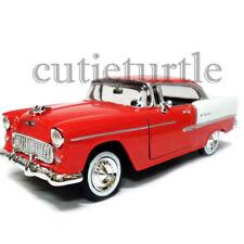 Motormax 1955 Chevrolet Bel Air Hard Top 1:24 Diecast Car 74229D Red White
