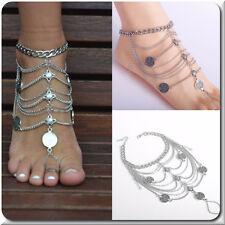 1 Fußkette XL Fußkettchen Fußschmuck Knöchel Fuß Schmuck Metall Versilbert Boho
