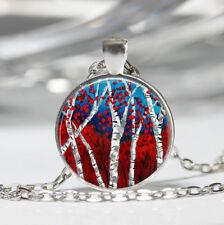 Birch Tibet silver Dome Glass Cabochon Necklace chain Pendant
