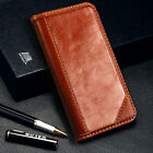 For iPhone XS Max Genuine Real Leather Flip Wallet Case Cover Brown Authentic