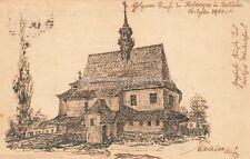 Ak Handgemalt Kirche im Dorf Kolaczyce in Galizien 1900