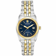 Ladies Citizen Eco-Drive Gold Silver Stainless Steel Blue Dial Watch EW2294-53L