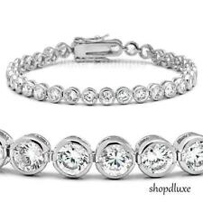 "8.50 Ct Round Cut AAA CZ Cubic Zirconia Silver Rhodium Plated 7"" Tennis Bracelet"