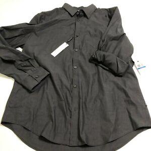Calvin Klein Mens Dressy Refined Shirt Black Sz XL Button Up Cotton LS $59