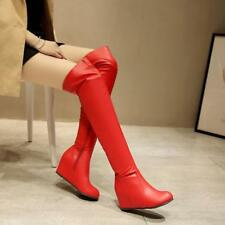 Womens Thigh High Leather Boots Hidden Heels Wedge Over The Knee Thigh Shoes NEW