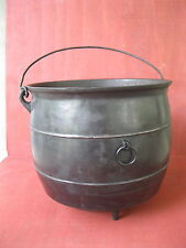 Antique Kettle Primitive #8 Cast Iron 3-Leg Pot Cauldron, Bail Handle, Gatemark