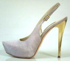 new $595 R & RENZI GIANMARCO LORENZI light gray silk gold heel shoes - very SEXY
