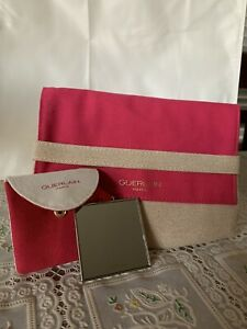 GUERLAIN Makeup Cosmetic Bag Pink & BEIGE GOLD Fabric FOLD OVER& Mirror 💄