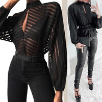 Women Long Sleeve Front Mesh Blouse Stripes Keyhole Hollow Out Tops Blouses Tees