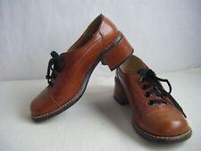 Caressa Vtg 70s Brown Leather Lace Platform Shoes-6.5 M