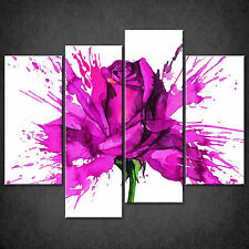 ROSE PAINT SPLATTER ABSTRACT CASCADE CANVAS PRINT WALL ART PICTURE MANY COLOURS