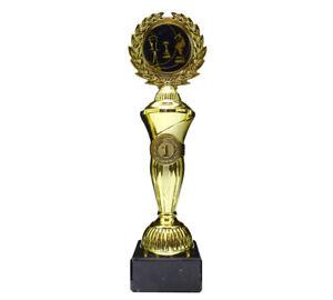 Schach-Pokal mit blauem Emblem und Ihrer Wunschgravur (Hoch1)