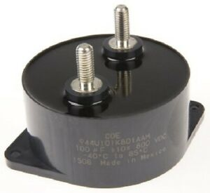Cornell-Dubilier 944U STUD MOUNT POLYPROPYLENE CAPACITOR 84.5x40mm 100µF 800VDC
