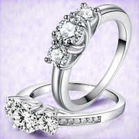925 Sterling Silver Ladies Trilogy Ring Band Engagement Wedding - Cubic Zirconia
