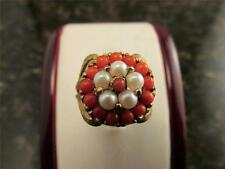 Vintage Pearl And Coral 10k Solid Yellow Gold Ring Size 6.75