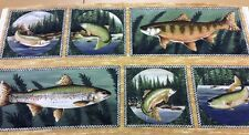 Fish Quilting Cotton Fabric Panel Wall Hanging - Pine Lodge - 60cm x 112cm