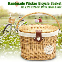 Wicker Bicycle Bike Front Basket Handlebar Pet Shopping Fruit Storage w/Strap