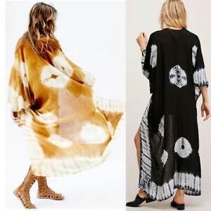 Punk Long Chiffon Cardigan Cover Up Print Shawl Kimono Sleeve Waterfall Cape