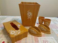 1960's 1970's Vintage Floral Plastic Bathroom Set Cups * Soap Dish * Bin * Props
