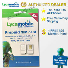 Lycamobile FREE $29 Monthly Plan Included Trio Size SIM with FREE SHIPPING