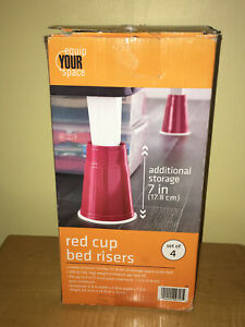 equip YOUR space Red Cup Bed Risers (Set of 4) OR Super LARGE Red Cups
