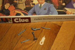 Clue 1986 Board Game Replacement Pieces Weapons Pipe Rope Gun Candlestick Knife