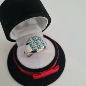 Sleeping Beauty Turquoise & Zircon Cluster Ring in platinum over Silver