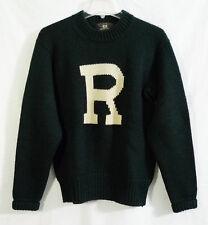 Vintage RRL Ralph Lauren Collegiate Dark Green Heavy Wool Knit Sweater Medium