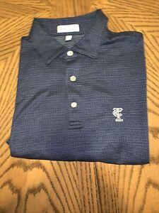 Peter Millar Cotton Golf Shirt - Blue / White Dot - Timiquana Country Club - New
