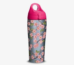 Tervis 24 Oz Stainless Steel Water Bottle with Lid Hand Drawn Cherry Blossom New