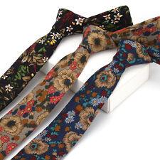 Men's Skinny Slim Neck Ties Vintage Floral Flower Cotton 6CM Classical Neckties