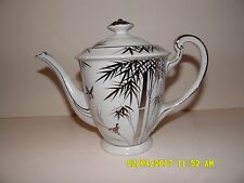 Vintage Porcelain Tea Coffee Pot FUJJIYAMA JAPAN Platinum Trim, Bamboo and Birds