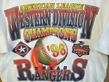 Vtg 1996 Texas Rangers Adult Large T Shirt Al Western Division Champions 90s Mlb