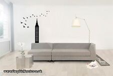 Empire State Building With Birds Flying Gloss Wall Sticker Decal Wal Art