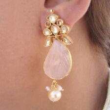 Gold Plated Partywear Rose Quartz Pearl Gems Sterling Silver Stud Earring Women