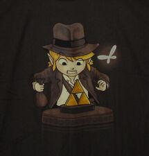 Legends of Zelda Link Indiana Jones Mashup T Shirt Men Large Brown Bustedtees