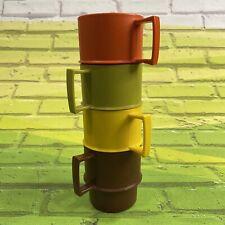 Tupperware 4 Vintage Stacking Cups Mugs Harvest Orange Yellow Avocado Brown 1312