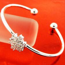 BANGLE BRACELET REAL 925 STERLING SILVER S/F BEAD CUFF DIAMOND SIMULATED DESIGN