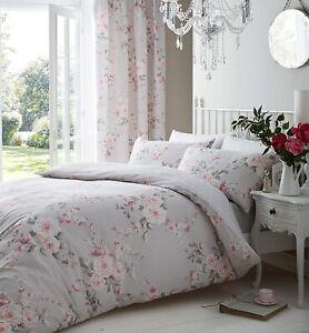 Grey & Pink Floral Duvet Cover Set Canterbury Reversible Grey Spot Bedding
